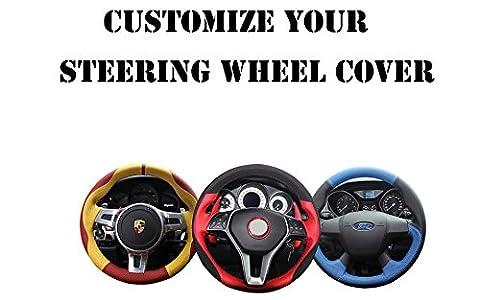 Loncky Genuine Leather Car Steering Wheel Cover for 2010 2011 2012 2013 2014 Ford F150 SVT Raptor