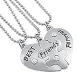 Hanessa Mädchen Schmuck 3 x Freundschafts-Halsketten Best Friends Forever Herz-Anhänger Puzzle Geschenk zu Weihnachten Freundin/Freundinnen