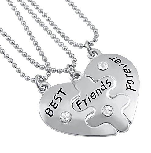 Hanessa Mädchen Schmuck 3 x Freundschafts-Halsketten Best Friends Forever Herz-Anhänger Puzzle Geschenk für die Beste Freundin/Freundinnen