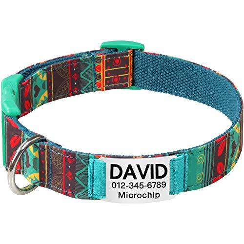 Collar de perro Personalizado,Placa de acero inoxidable,Grabado con nombre y número de...