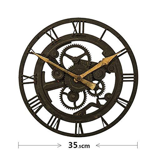 BGGZXX Retro Reloj de Pared del Engranaje Colgante de Pared Decorativo Viento Industrial, Creativo Bar Sala Café Redondo,D