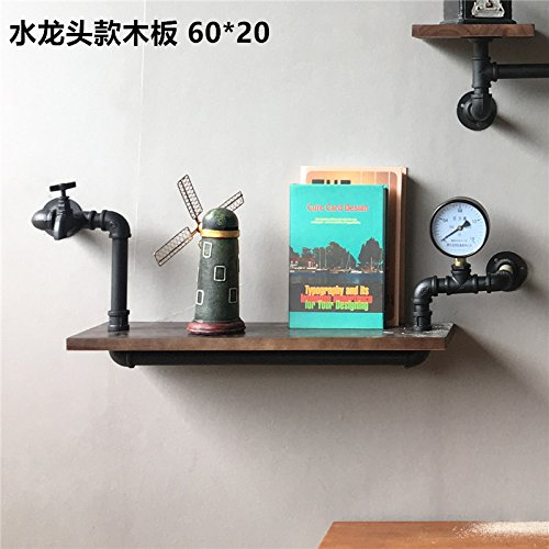 ETERNAL QUALITY Badezimmer Waschbecken Wasserhahn Messing Hahn Waschraum Mischer Mischbatterie Das Bücherregal Retro Industrial Wall Rohre integrierte Regal Schottwand in (Messing Bücherregal)