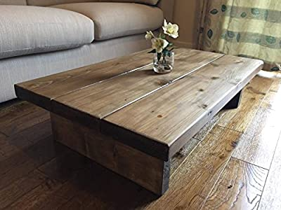 Solid Rustic Handmade Pine coffee table, finished in a Chunky Country Oak (Dark Oak, 100cm x 60cm x 25cm) - inexpensive UK coffee table store.