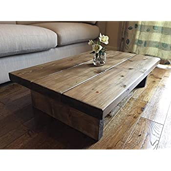 Solid Rustic Handmade Pine Coffee Table Finished In A Chunky Country Oak Light Oak 100cm X 60cm X 25cm
