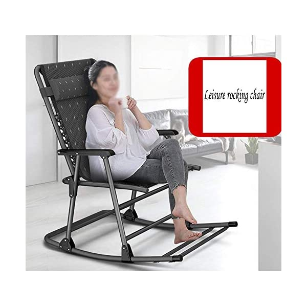 LYATW Beach Folding Rocking Chair,home Balcony Adult Recliner Nap Lazy Folding Chair Summer Leisure Chair Lazy Office Outdoor LYATW Folding chair:The seat is suspended in its frame and supports your weight evenly to help reduce pressure points. High quality pipe racks strengthen the load-bearing capacity. In addition, it also enhances the stability and safety of the deck chair. Padded pillow is adjustable and completely removable allowing it to serve as a headrest, lumbar support or for other support purposes. Space Saving:The folding design makes it space-saving when not in use. You can just fold it up to a flat piece. 6