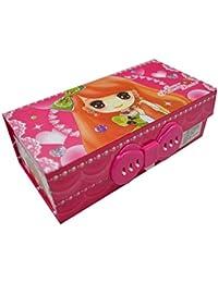 AiSi Multifonction Trousse Scolaire Enfant 3 Compartiments avec Serrure à Combinaison Étui à Crayons Stylo Pencil Case en Carton pour Fille Femme