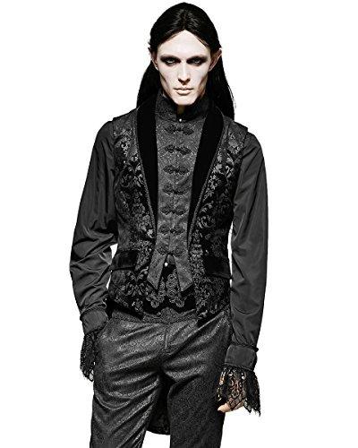 Punk rave uomo gilet frac nero damascato gotico steampunk regency - nero, medium