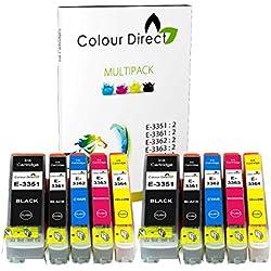 Colour Direct - 2 Conjuntos - 33XL Tinta Compatible Cartuchos Para Epson XP-530 XP-540 XP-630 XP-635 XP-640 XP-645 XP-830 XP-900 Impresorass. Replaces naranja series . 2 X 3351 2 X 3361 2 X 3362 2 X 3363 2 X 3364