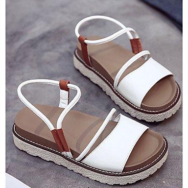 Donne 039 s sandali Slingback estate pu Casual Cuneo fibbia tacco WalkingWhiteUS6 EU36 UK4 CN36 US6 / EU36 / UK4 / CN36