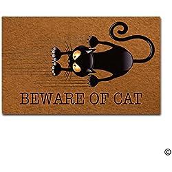 msmr entrada Felpudo–divertido y Creative Felpudo–Cuidado de gato Felpudo para interior y exterior. Tela no tejida Top 23.6x 15.7inch