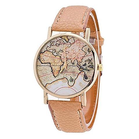 Culater® Femme Carte du Monde Bracelet en PU cuir Analogique quartz Montre-bracelet (Beige)