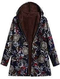 5350181acf8b FNKDOR Manteau à Capuche Femmes Grande Taille Hiver Chaud Veste en Coton  Lâche Poches Rétro Fleurs Impression Plus épais Hasp Outwear Pas…