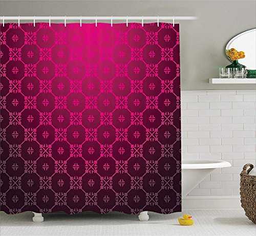 Artspower Magenta Decor Shower Curtain Medieval Style Endless Bound Square Shaped Stripe Middle Age Damask Motif Polyester Fabric Bathroom Set With Hooks
