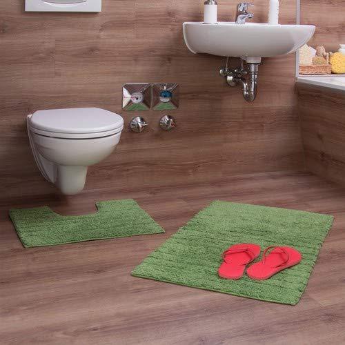 Relaxdays Badgarnitur 2-teilig, Streifen-Design, Für Fußbodenheizung, Waschbar, Badematte und WC-Vorleger, Für Stand-WC, 80 x 50 cm, grün