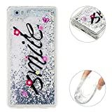 Moon mood Case Huawei P8 Lite Treibsand Weich Silber Durchsichtige, Huawei P8 Lite Handyhülle 3D Creative Case Mode Bunten Transparente Kristallklaren Sparkly Silikon TPU Weich Back Handy Cover
