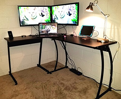 Coavas bureau informatique coin en forme de l table en bois pour