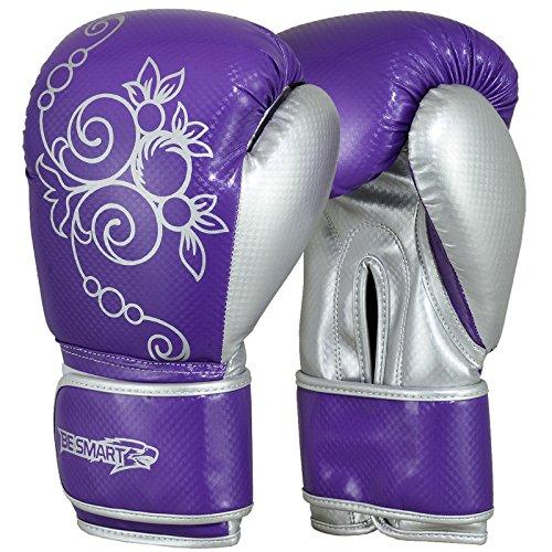 Auth. Damen Rosa Gel Boxhandschuhe BAG DAMEN Gym Kick Pads MMA Handschuhe Muay Thai Kostenlose Lieferung UK Violett / silberfarben 283 g (Womens Boxing Handschuhe Und Wraps)
