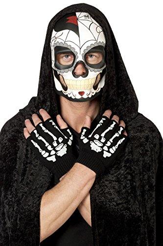 en-Maske Tag der Toten für Herren Day of The Death Dia de los Muertos Mexico Mexiko Grusel Horror Scary HochwertigEinheitsgröße Schwarz ()