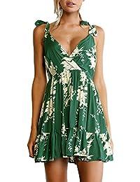 MYWY - Abito corto vestito donna casual schiena nuda sexy dettaglio floreale  scollo v 209ad6d238c