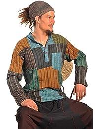 Patchwork Hemd Pullover Shirt Fischerhemd Freizeithemd Freizeitshirt Hippie Goa Psy Sweater Bash