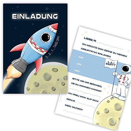 """10 Einladungskarten zum Kindergeburtstag \""""RAUMSCHIFF\"""" Spaceshuttle, Rakte für Jungs, Einladungskarten Kindergeburtstag Rakete"""