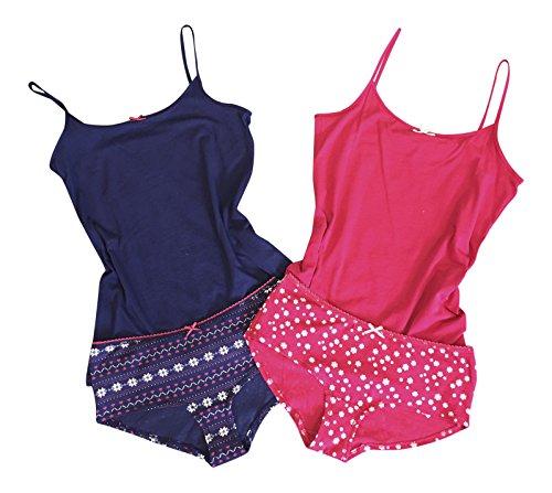 Femme petit imprimé coton tres doux 2 pièces veste et culotte ensembles de pyjamas dans rouge et bleu Rouge