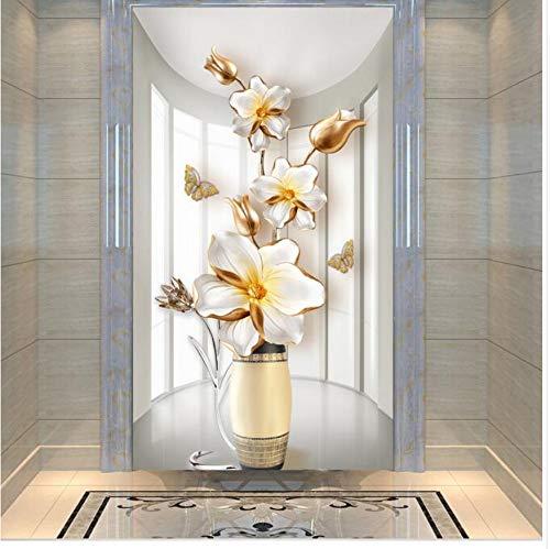 Preisvergleich Produktbild WFYY 3D Türaufkleber Türabzieher Türsticker Blumen Vase Tür Aufkleber Für Schlafzimmer Wohnzimmer Geschenk Kunst PVC Wasserdicht Aufkleber Türverpackung 77X200 cm