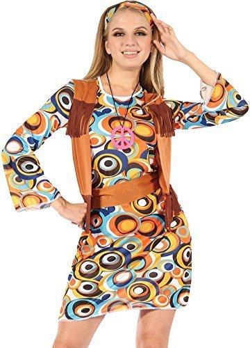 Damen 60er Jahre 70er Jahre Austin Power Ausgefallen Party Hippy Mod Kleid Mit Fransen Weste Outfit (Mod 70er Jahre Kostüm)