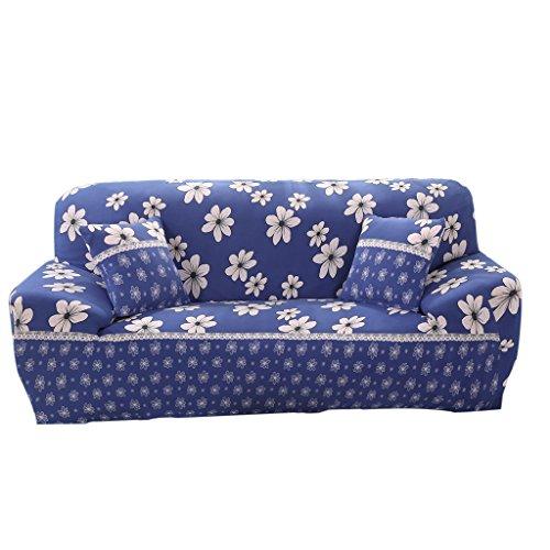 MagiDeal Weiche Stretch Sofabezüge Sofahusse, Landhausstil Weiche Hussen für 1-/2-/3-Sitzer Couch Sofa - Blau Floral, 190-230cm (Blaue Hussen Für Couch)