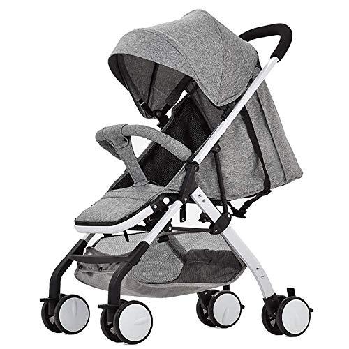 TYUIO Tragbarer zusammenklappbarer Kinderwagen - Leicht, kompakt und zusammenklappbar für Reisen, unter dem Korb, Verstellbarer Sitz, Gurte und Schutzhülle (Color : Gray) -