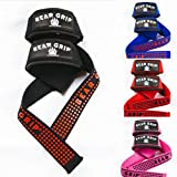 Bear Grip Straps - Premium Neoprene padded Heavy Duty double stitched weight lifting gym straps, Gel grip, Top Quality, 100% cotton, Extra long length