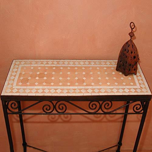 Mediterrane Mosaikkonsole marokkanischer Konsolentisch 90x34 cm rechteckig weiß terrakotta mit Gestell H 85 cm | Kunsthandwerk aus Marrakesch | Vintage Beistelltisch Dekorativ Sideboard | MT2012