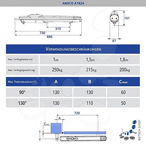 2 Stck. Drehtorantrieb CAME AMICO 24V (A1824) mit integrierten Endanschlägen und Enkoder