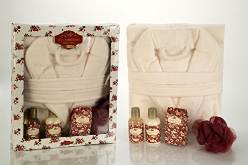Bademantel im Wellness Set - mit Duschgel, Badesalz und Bodylotion - Pinie - Geschenkset