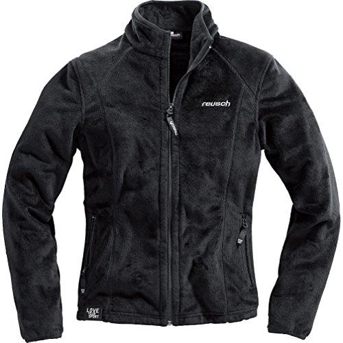 Reusch Fleecejacke Damen Fleece Jacke 1.0, Zwei seitliche Reißverschlusstaschen, Kragen mit Reißverschluss, weich und kuschelig, 100% Polyester, Schwarz, M -