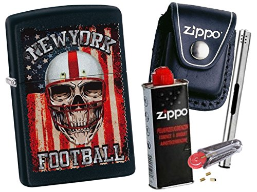 Zippo New York Football + Zippo POUCH mit Zippo Zubehör und L.B Chrome Stabfeuerzeug (mit CLIP Black Pouch) (New York Feuerzeug Zippo)