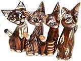Deko-Katzen CHILL aus Holz im 4er-Set