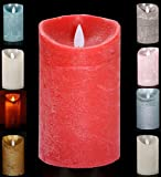 LED Echtwachskerze Kerze Farbauswahl Timer flackernde Wachskerze Kerzen Batterie, Farbe:Rot, Größe:10 cm