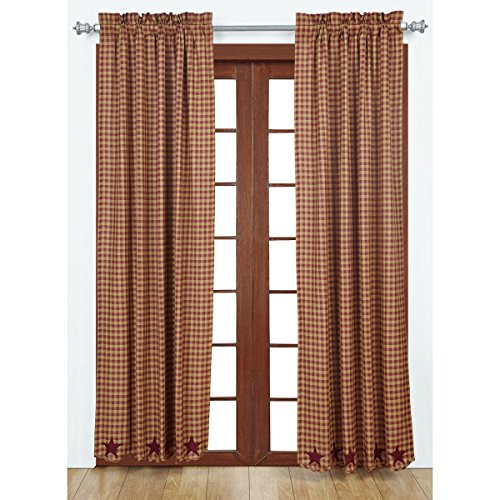 VHC Marken Burgund Star gewelltem Panel Set von 2 84 x 40, rot, 203,2 x 213,4 cm (Panel Star)