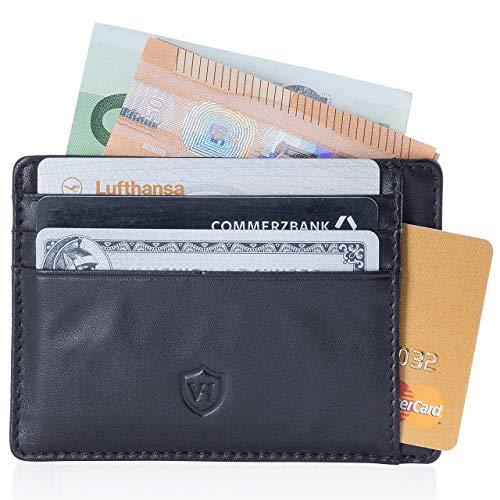 VON HEESEN Kartenetui mit RFID-Schutz I Kreditkartenetui I Kreditkarten etuis I Leder Geldbörse Herren Slim Wallet Portmonee I Geldbeutel Männer Made in Europe (Schwarz) -