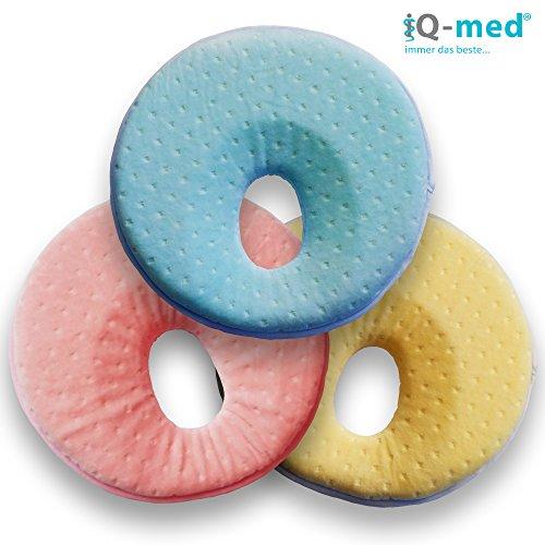 Babykissen von iQ-med® | Baby-Kissen gegen Verformung und Plattkopf | aus viskoelastischem Schaum | Kinder-Kissen, Kopf-Kissen für Säugling (Blau)