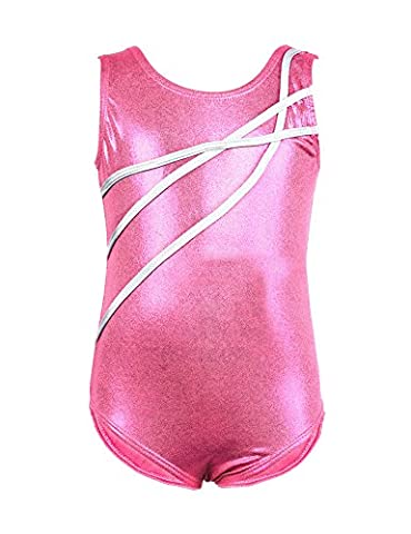 Ephex One-piece Gymnastics Tank Leotard for Baby Girl Pink-Stripe 3Y