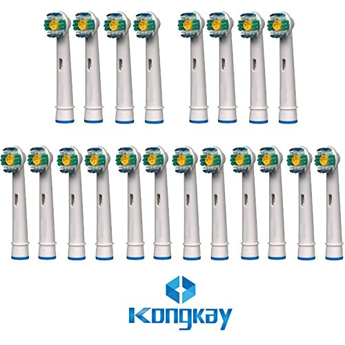 Kongkay® 20 pcs eb18/eb-18a generico testine di spazzolino da denti di sostituzione compatibili per lo spazzolino elettrico braun oral-b 3d white, sostituzioni di alta qualità per risparmiare denaro, compatibile per braun oral-b 3d white, vitality precision clean, clean white, sensitive clean, control 3d, oral-b professional care 5000, 6000, 7000, 8000, oral-b triumph professional care 9000 series, oral-b advanced power care 400, 9000, oral-b dual clean. 20 pz (5 pacco x 4 pz)