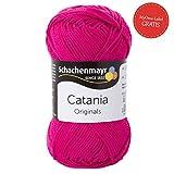 Schachenmayr Catania * Catania Wolle cyclam (Fb 114) * pinke Wolle + GRATIS MyOma Label - Sommerwolle 50g/120m - Wolle für Anfänger - Wolle zum Stricken – Wolle pink / pinke Wolle