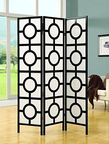 Monarch Specialties Frame 3-Panel Circle Design Folding Screen, Black by Monarch Specialties Folding Frame Screen