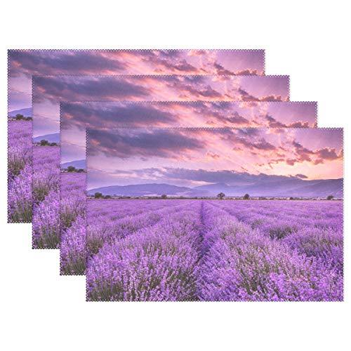 Jereee Purple Lavendel Field Set von 1 Platzdeckchen hitzebeständig Tischmatte waschbar schmutzabweisend Anti-Rutsch-Polyester Tischsets für Küche Esszimmer Dekoration, Vinyl, 6er-Set (Halloween Tischsets Vinyl)