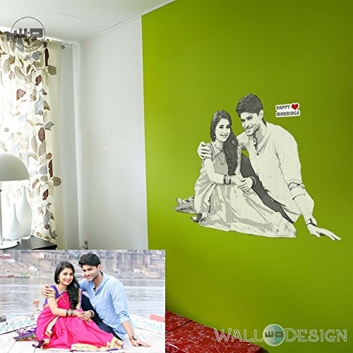 Walldesign Pencil Sketch Photo Gift Wall Sticker - Engrave Your Photos On The Wall - Creative Birthday / Anniversary Gift