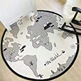 Hbwz 53in Cotton World Map Pattern Baby Game Pad Round Ddiameter Kids Crawling Mats Infant Toys Baby Play Mat