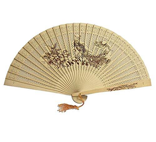 Syeytx chinesischen traditionellen hohlen Fan weiblich Faltfächer Handwerk Fan aus Holz handgefertigt exquisite Faltung Hochzeitsgeschenk Wandventilator, Hochzeit, Party, Tanz, Karneval Dekor (Element Wasser Kostüm)