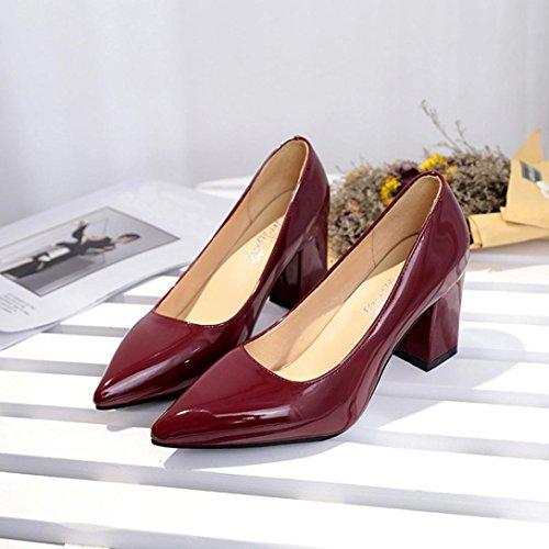 Longra Fashion Couleur Unie Femme Pu Matériau Supérieur Bout Pointu Chaussures À Talons Bas Avec Bout Avant Vin Rouge